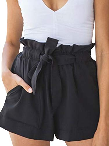 Simplee Women's Casual High Waisted Shorts Sterch Belt Mini Shorts with Pockets Black 02 8