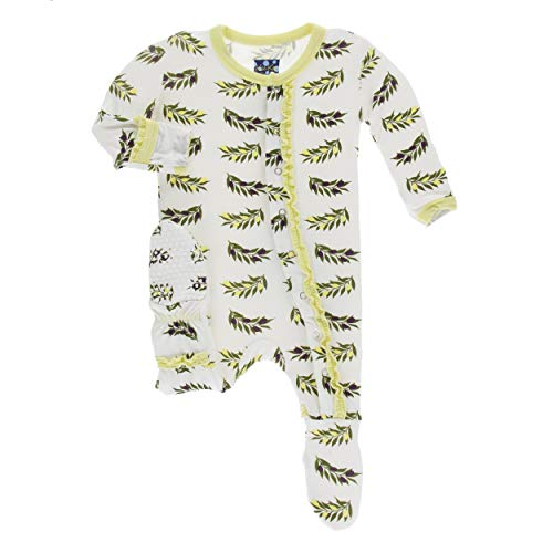 Kickee Pants Little Girls Print Muffin Ruffle Footie with Snaps - Natural Olive Branch, 0-3 Months