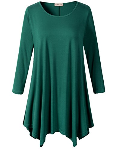Lanmo-Women-Plus-Size-34-Sleeve-Tunic-Tops-Loose-Basic-Shirt