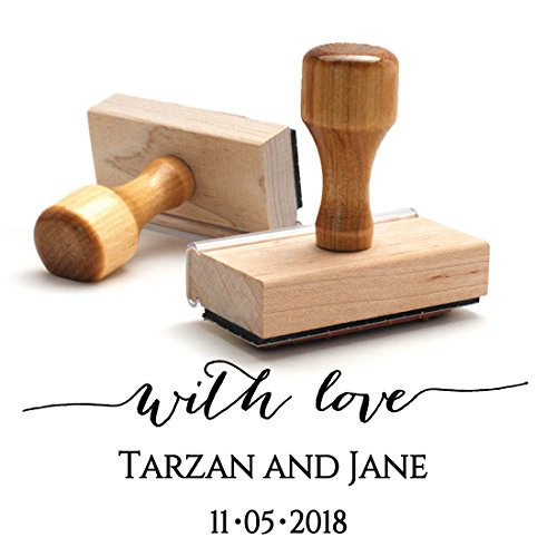 Wood Stamper, Personalized Custom Wooden Handle Save the Date Stamp, Newlywed Thank You Stamp, For Wedding Invitations or Thank You -