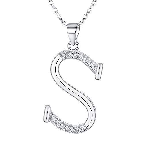 EVER FAITH 925 Sterling Silver CZ Cursive Initial Alphabet Letter S Adjustable Pendant Necklace Clear Chain Sterling Silver Brooch