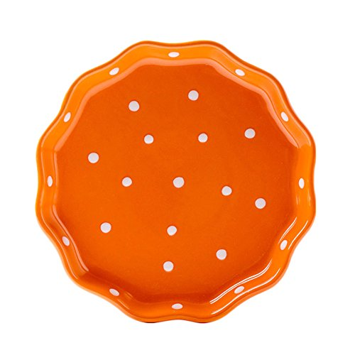 CHOOLD Ceramic Wave edged Polka Dot Dinner Plate/Salad Plate/Dessert Plate/Steak Plate for Kitchen Party Restaurant, Multicolor 8'' 8' Salad Plate