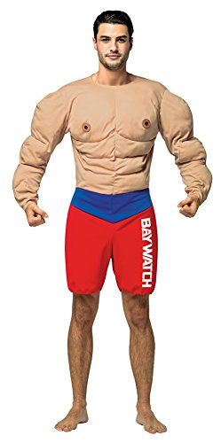 Mens Halloween Costume- Baywatch Muscles Lifeguard Adult (Funny Baywatch Costume)