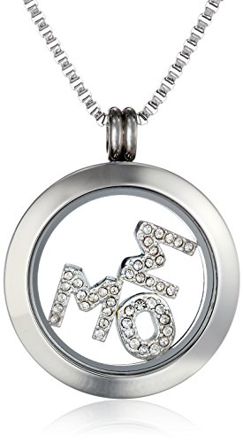 Charmed Lockets Crystal Mom Pendant Necklace Floating Charm Set, 24""