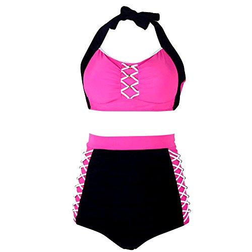 PZZ Plus Size Bandge Patch Halter Push Up Sexy bikini Sets XXX-Large Pink