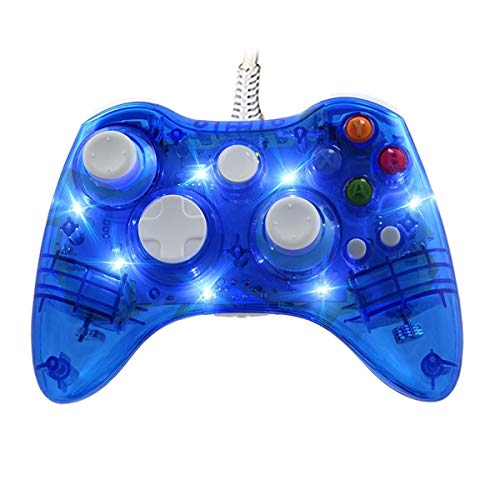 Xbox 360 Wired Game Controller, USB Wired Pro Controller Gamepad Joystick, with DualShock & 7 Colorfull LED, Transparent Shell, Suitable for Xbox 360/PC(Windows XP/7/8/8.1/10/Vista) (Color : Blue)