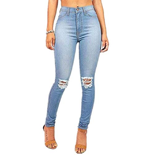 FuweiEncore Pantalon Coupe Slim Slim en Jean dchir Bleu