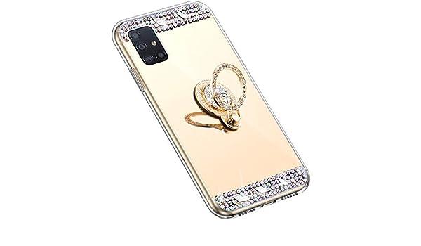 Uposao Espejo Funda para Samsung Galaxy A51 Purpurina Funda Carcasa Espejo + Anillo Soporte Móvil Diamante Glitter Brillante Carcasa Silicona TPU Gel Suave Ultra Hybrid Funda Bumper,Dorado: Amazon.es: Electrónica