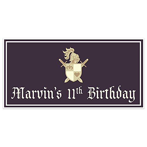 Medieval Shield Birthday Banner Personalized Party Backdrop Decoration ()