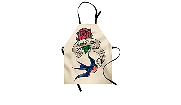 e69fa26ee Lunarable Tattoo Apron, Cute Chubby Sparrow The Hope Bird with Rose and  Ultimate Love Adoration, Unisex Kitchen Bib Apron with Adjustable Neck for  Cooking ...
