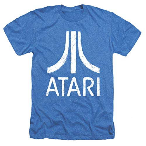 Atari Logo Retro Video Game Royal Blue Heather T Shirt & Stickers (X-Large) ()