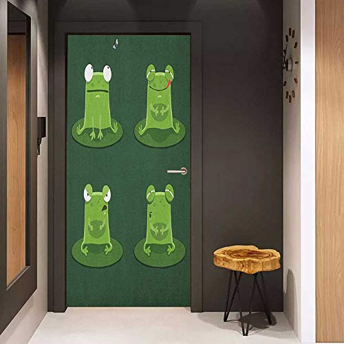 Door Sticker Funny Funny Muzzy Frog on Lily Pad in Pond Hunting Tasty Fly Expressions Cartoon Animal Glass Film for Home Office W23 x H70 Hunter Green