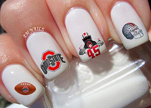 (Ohio State Water Nail Art Transfers Stickers Decals - Set of)