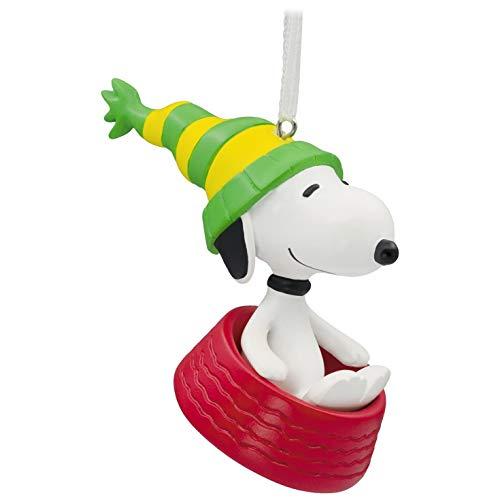 Hallmark Christmas Ornament Peanuts Snoopy Sledding in Dog Bowl