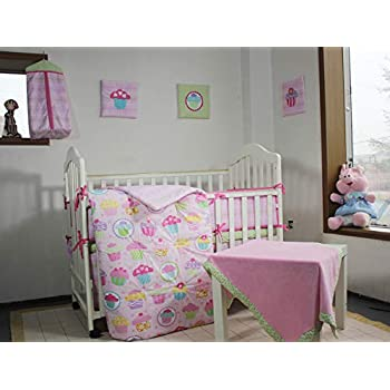 Image of 100% Cotton Pink Cupcake 12 Pieces Nursery Crib Bedding Set with Extra Fitted Sheet and Wall Hanging Art Home and Kitchen