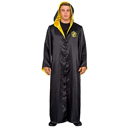 Underboss Harry Potter Hufflepuff Costume Black and Yellow Long Robe with Hood (Adult L/XL)
