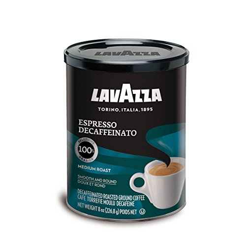Lavazza Espresso Coffee - Lavazza Espresso Decaffeinato Ground Coffee Blend, Decaffeinated Medium Roast, 8-Ounce Cans (Pack of 4)