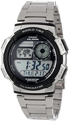 Casio Men's AE1000WD-1AVCF World Time Silver-Tone Bracelet and Digital Sport Watch by Casio