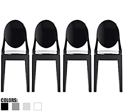 xhome Set of Four (4) - Victoria Style Ghost Side Chairs Dining Room Chairs - Victorian Accent Seat - Lounge No Arm Arms Armless Less Chairs Seats