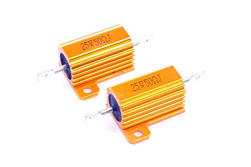 - LM YN 25 Watt 50 Ohm 5% Wirewound Resistor Electronic Aluminium Shell Resistor Gold for Inverter LED lights Frequency Divider Servo Industry Industrial Control 2-Pcs