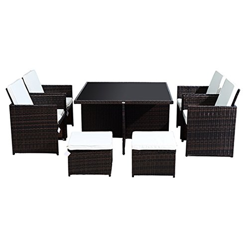 homcom gartenm bel polyrattan 21 er teilig rattan essgruppe gartenset lounge sitzgruppe sofa. Black Bedroom Furniture Sets. Home Design Ideas