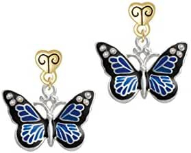 Large Enamel Butterfly with AB Crystals Gold Tone Scroll Heart Earrings
