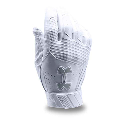 Under Armour Men's Clean Up Baseball Batting Gloves, White (101)/Steel, Large