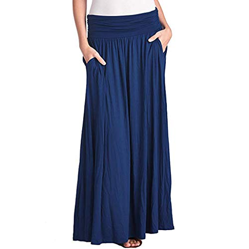 Womens Long Maxi Skirt with Pockets Reg and Plus Size Shirring High Waist Pleated Convertible Dress (Blue, M)