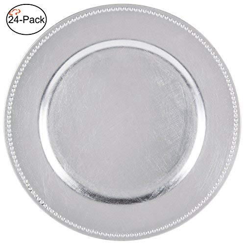 Tiger Chef 13-inch Silver Round Beaded Charger Plates, Set of 2,4,6, 12 or 24 Dinner Chargers (24-Pack Silver Chargers Plates)