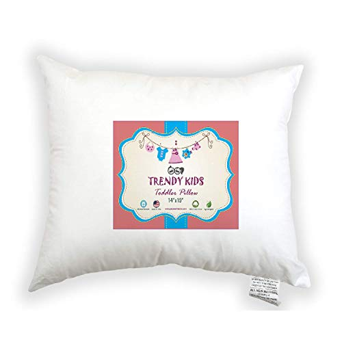 Trendy Kids Toddler Pillow 14x19 100% Cotton Baby/Toddler/Travel Pillow Percale - No Extra Pillowcase/Sham Needed - Machine Washable and Hypoallergenic, Perfect for Kids, ()