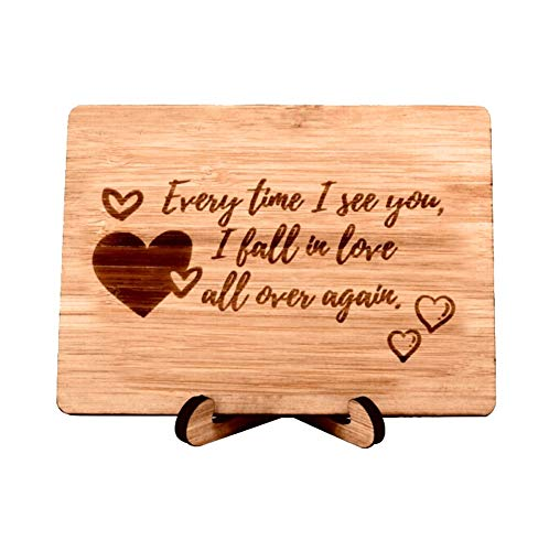 Zuaart Love Greeting Card Handmade With Real Bamboo Wood and Stand- Every time i see you i fall in love all over again - Perfect for love (Best Sweetest Day Gifts For Her)