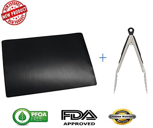 Find Discount Extra Large 16x 23 BBQ Grill Mat & Stainless Steel Locking Tong Combo - BPA Free - H...