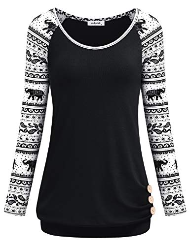 Crewneck Sweatshirt Lightweight (AxByCzD Tunic Sweatshirts for Women,Cotton Tunic Tee Long Sleeve Crewneck Lightweight Shirts Banded Hem Pleated Front with Buttons Oversized Tshirt and Blouses for Daily Wear Black Large)