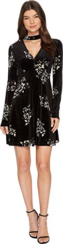 Womens Couture Dress (Romeo & Juliet Couture Women's Floral Print Velvet Dress Black/Cream Small)