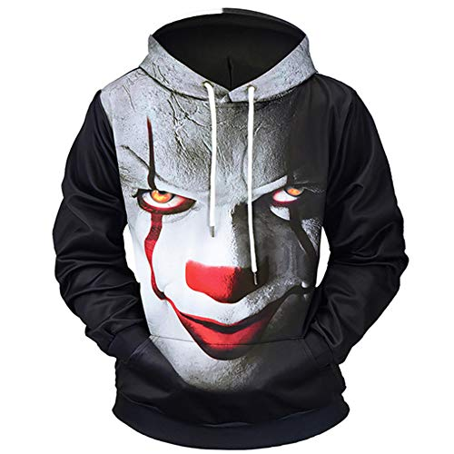 ce4c7ff12d2a QMKJ Clown 3D Prints Pullover Winter Hoodie Sweatshirt Hooded Lightweight  with Adjustable Hood Front Pockets for