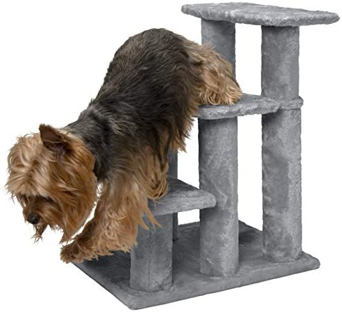 Furhaven Pet Stairs Steady Paws Easy Multi-Step Furniture Pet Stairs Assist Ramp for Dogs Cats – Available in Multiple Colors Sizes