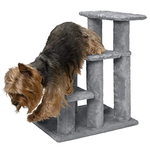 Furhaven Pet Stairs | Steady Paws Easy Multi-Step Pet Stairs Assist Ramp for Dogs & Cats, Gray, 3-Step