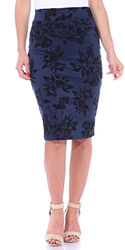 Popana Women's Stretch Pencil Skirt Knee Length High Waist for Work Made in USA Small Navy