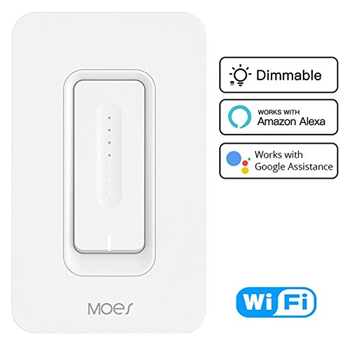 WiFi Smart Dimmer Light Switch Wireless Remote Control Anywhere Works with Alexa and Google Assistant Timing Function No Hub Required Neutral Wire Require (Dimmer Light Switch) - 2 Gang Ac Power Accessory