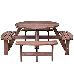 Picnic Table 8 Seat Patio Dining Seat Bench Set Pub Garden Yard Wood