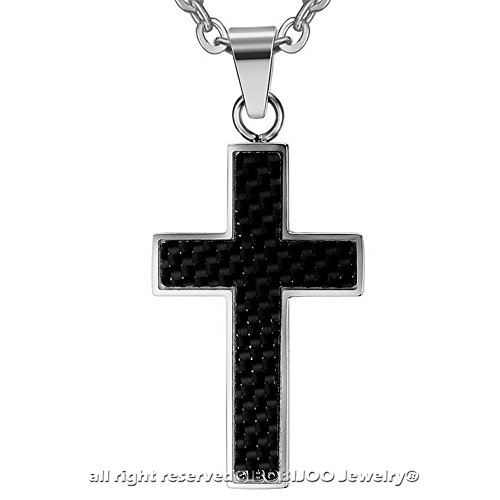 BOBIJOO Jewelry - Pendentif Collier Homme Croix Latine Jésus Argentée Catho Acier Carbone + Chaîne