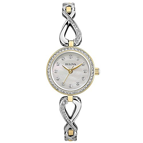 Bulova Women's 98X109 Two Tone Swarvoski Crystal Watch  Box Set with Necklace
