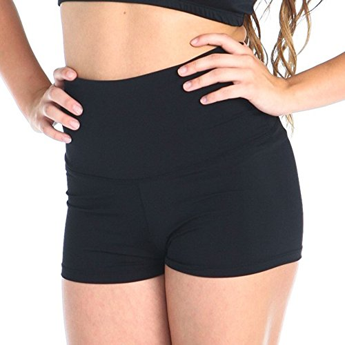Gia Mia Girl's High Waist Dance Short Size Large (12-14) Black