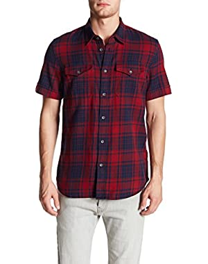 Men's Western Plaid Slim Fit Utility Short Sleeve Shirt in Academy