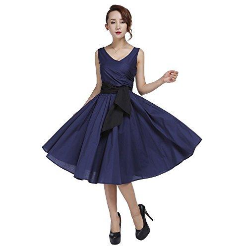 Chic Star Sleeveless Marine Kleid mit Seite Schärpe Größen 36,38,40,42,44,46,50,52,54,56,58,60