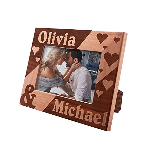 (Personalized Picture Frames 4x6, 5x7, 8x10 - Hearts Love Personalized Romantic, Wedding Photo Frame, Engagement, Valentine's Day, Wedding Gifts for The Couple)