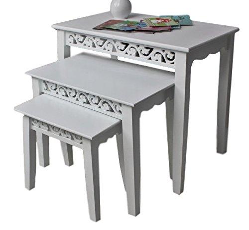 Beistelltisch antik weiß  3x Tisch Beistelltisch antik weiß Landhaus Shabby-chic Nachttisch ...