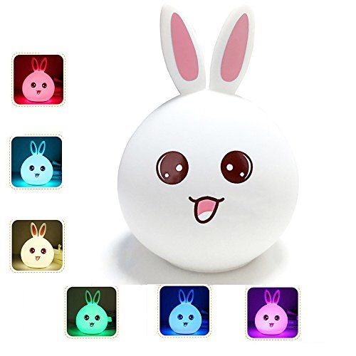 Rabbit Nursery Lamp, Tap Control and Silicone Touch Nursery Lamp, USB Rechargeable Kids Night Light for Girl Lady Children Baby Bedroom (For Women Bedroom Simple Ideas)