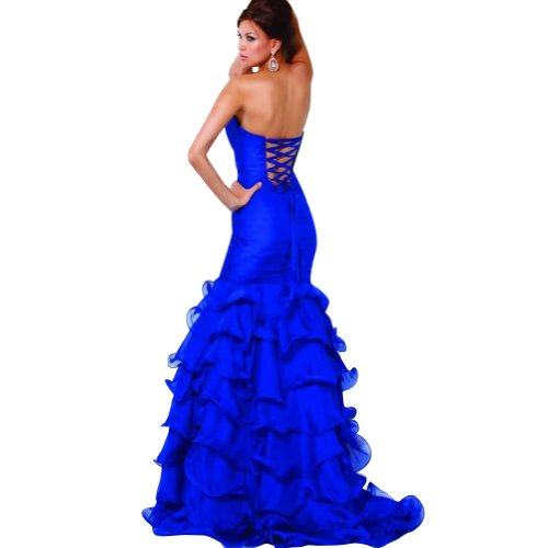 Liebsten Trompete Applikationen Blau mit Blau GEORGE Perlen Meerjungfrau Abendkleid Sweep Zug BRIDE qEHUI