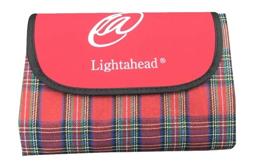 Lightahead Outdoor Picnic Blanket Water-Resistant Foldable Mat for Beach Camping Hiking Spring Summer (Red Checks)